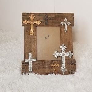 Rustic Multiple Cross Wooden Picture Frame
